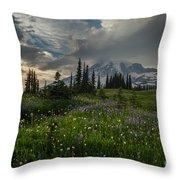 Mount Rainier Meadows Storm Brewing Throw Pillow