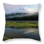 Mount Rainier Shrouded In Fog Throw Pillow