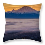 Mount Rainier Sunrise Mood Throw Pillow