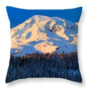 Mount Rainier Winter Evening Throw Pillow