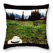 Mount Ranier Cabin Throw Pillow