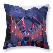 Mount Rushmore At Night Throw Pillow