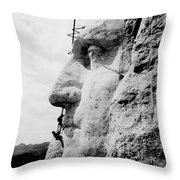 Mount Rushmore Construction Photo Throw Pillow