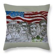 Mount Rushmore Throw Pillow