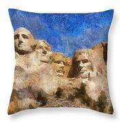 Mount Rushmore Monument Photo Art Throw Pillow