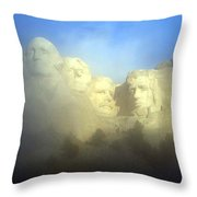 Mount Rushmore National Memorial Through The Fog  Throw Pillow
