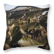 Mount Skalli From Mount Blahnukur Throw Pillow