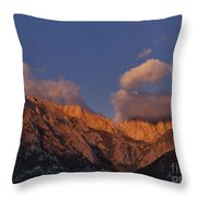 Mount Whitney In Clouds Alabama Hills Eastern Sierras California  Throw Pillow