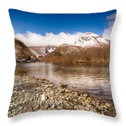 Mount Yakedake Throw Pillow