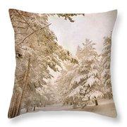 Mountain Adventure In The Snow Throw Pillow