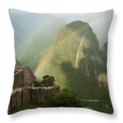Mountain And Train Below Along Urubamba Throw Pillow