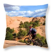 Mountain Biking Moab Slickrock Trail - Utah Throw Pillow by Gary Whitton
