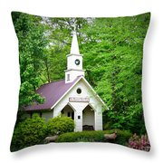 Mountain Chapel Throw Pillow by Crystal Joy Photography