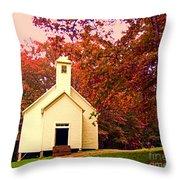 Mountain Church In Fall Throw Pillow