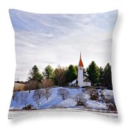 Mountain Church In Winter Throw Pillow