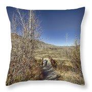 Mountain Creek Bridge Throw Pillow