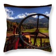 Mountain Farm View Throw Pillow