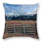 Mountain Farmers Throw Pillow