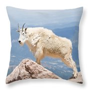 Mountain Goat Up High Throw Pillow