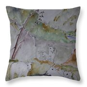 Mountain Goats In Spearfish Canyon Throw Pillow