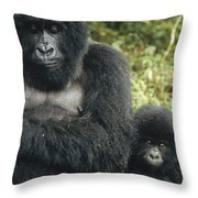 Mountain Gorilla Mother And Baby Throw Pillow