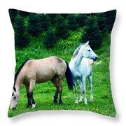 Mountain Horses Grazing  Throw Pillow