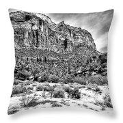 Mountain In Winter - Bw Throw Pillow