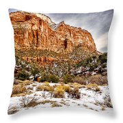 Mountain In Winter Throw Pillow