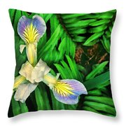 Mountain Iris And Ferns Throw Pillow