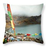 Mountain Lake Gosaikunda Himalayas Throw Pillow