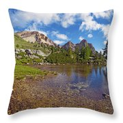 Mountain Lake In The Dolomites Throw Pillow