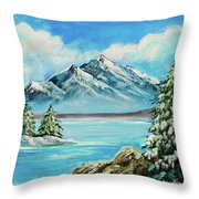 Mountain Lake In Winter Original Painting Forsale Throw Pillow