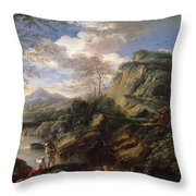 Mountain Landscape With Figures Throw Pillow
