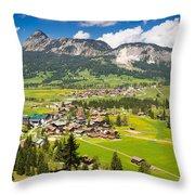 Mountain Landscape With Village In The Allgaeu Alps Austria Throw Pillow