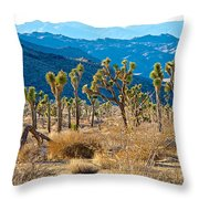 Mountain Layer Landscape From Quail Springs In Joshua Tree Np-ca- Throw Pillow