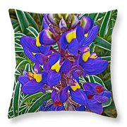 Mountain Lupine In Ancient Incan Pisac In Andes Mountains Above Sacred Valley-peru   Throw Pillow