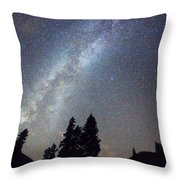 Mountain Milky Way Stary Night View Throw Pillow
