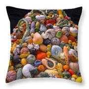 Mountain Of Gourds And Pumpkins Throw Pillow