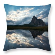 Mountain Peak And Clouds Reflected In Alpine Lake In The Dolomit Throw Pillow