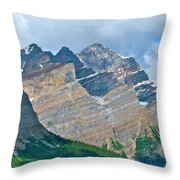 Mountain Peaks From Bow Summit Along Icefield Parkway In Alberta Throw Pillow