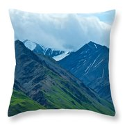 Mountain Peaks From Eielson Visitor's Center In Denali Np-ak Throw Pillow