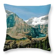 Mountain Peaks From Plain Of Six Glaciers Trail In Banff Np-albe Throw Pillow