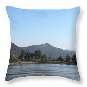 Mountain Pines And Sea Shore Throw Pillow