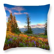 Mountain Rainier  Sunset Throw Pillow by Emmanuel Panagiotakis