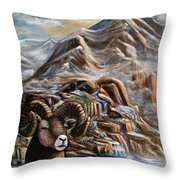 Mountain Ram Throw Pillow