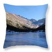 Mountain Reflection On Frozen Lake Throw Pillow