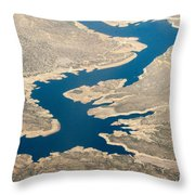 Mountain River From The Air Throw Pillow