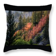 Mountain Side Colors Throw Pillow
