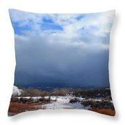 Mountain Snow Coming  Throw Pillow