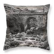 Mountain Stream With Bridge Throw Pillow